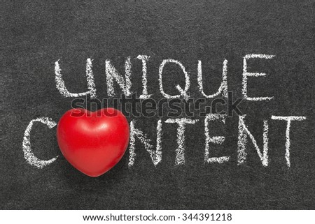 unique content phrase handwritten on blackboard with heart symbol instead O