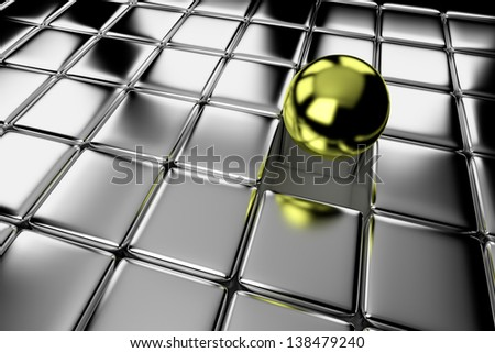 Unique, difference, leadership, and individuality concept: one different shiny gold ball standing out in the crowd of steel cubes - stock photo