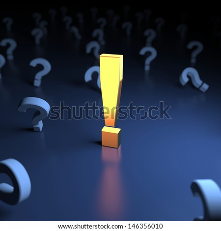 Unique exclamation mark. The answer to the questions - stock photo