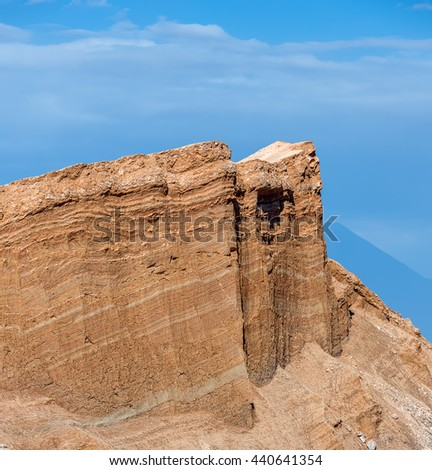 Unique geological formations in a lifeless place called the moon Valley in Atacama Desert - Chile, South America - stock photo