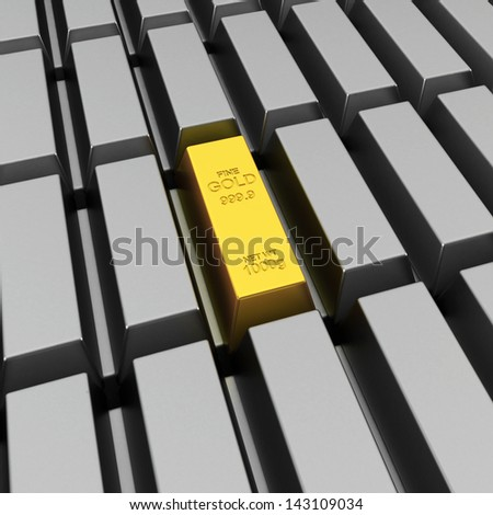 Unique gold bar. 3d illustration on white background - stock photo