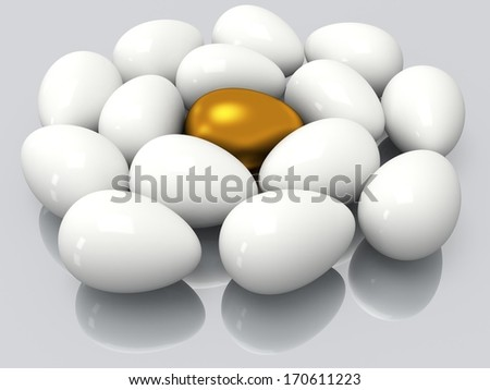 Unique golden egg among white eggs. 3D render. Easter, out of crowd, business concept.