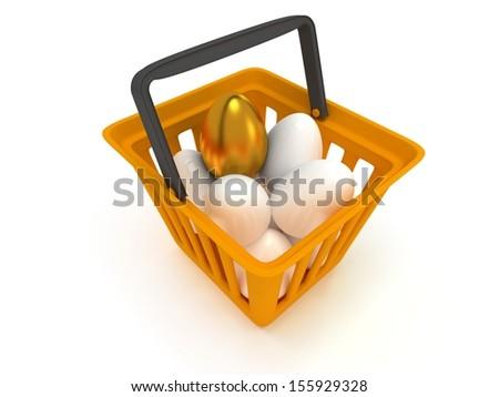 Unique golden egg among white eggs in orange shopping basket isolated on white background - 3d render - stock photo