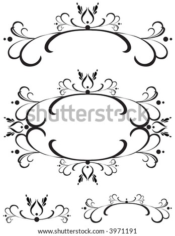 Unique graphics useful as decorations, ornaments and separators. Black designs on a white background.