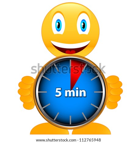 Unique icon of hours with five minutes - stock photo
