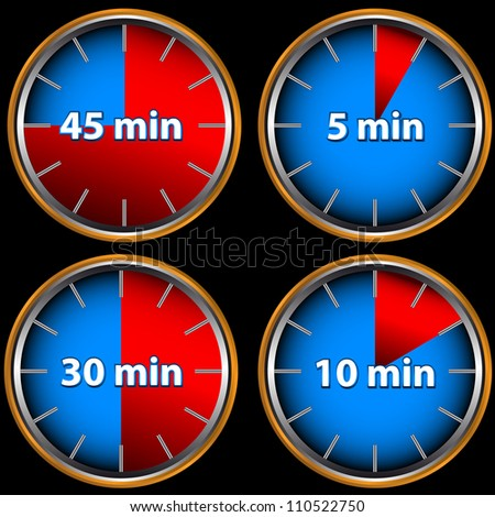 Unique icons of hours with five, ten, thirty and forty five minutes - stock photo