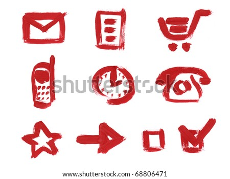 Unique icons set hand painted. Mail, Profile, Shopping bag, Mobile phone, Clocks, Old Style Phone, Favorites, Arrow, Check Box empty, Checked box.