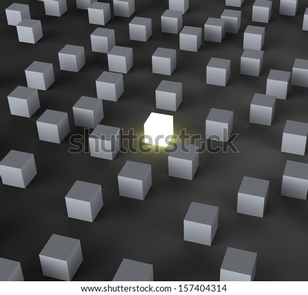 Unique Illuminated Block Shows Standing Out And Different - stock photo