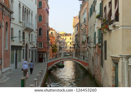 Unique Italian city of Venice. Traditional architecture