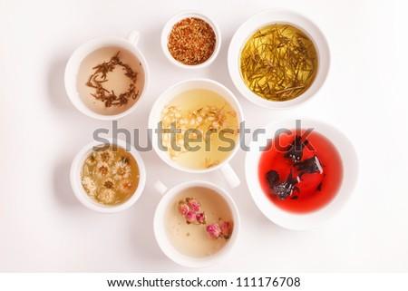 unique kinds of tea - stock photo
