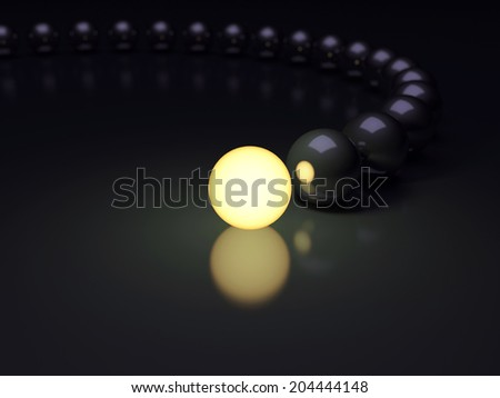 Unique luminous sphere. Leadership concept. 3d render illustration. DOF - stock photo