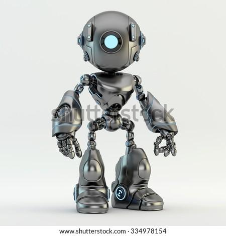 Unique matte grey robot - stock photo