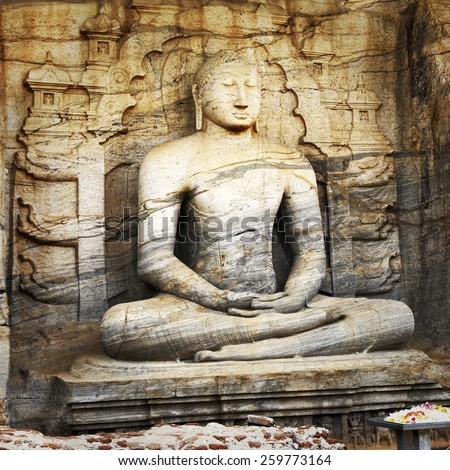 Unique monolith Buddha statue in Polonnaruwa temple - medieval c - stock photo