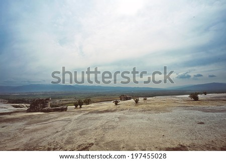 Unique nature landscapes: white travertine pools and terraces, Pamukkale, Turkey, unesco world heritage site - stock photo