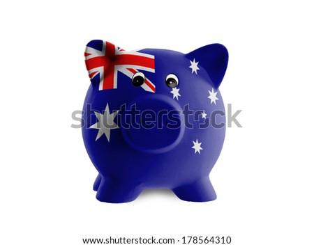 Unique pink ceramic piggy bank isolated, Australia - stock photo