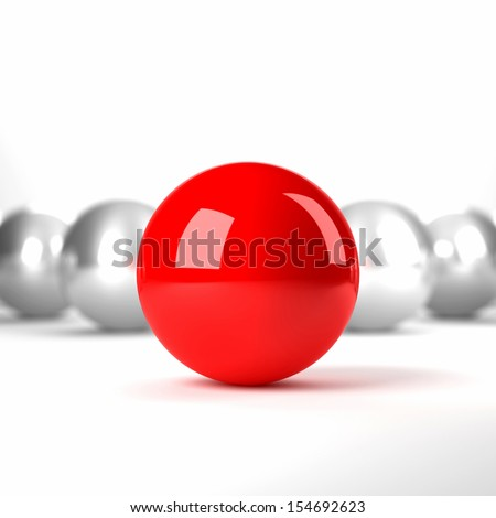 Unique red ball among grey balls. Conception of leadership