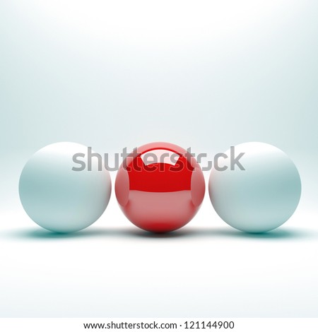 Unique red ball among white balls. Conception of leadership - stock photo