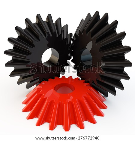 unique red gear connected to two black - stock photo