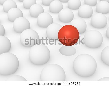 Unique red sphere - stock photo