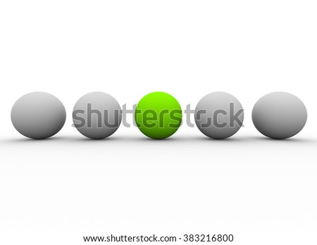 Unique red sphere among many white ones. Individuality and leadership in team - stock photo