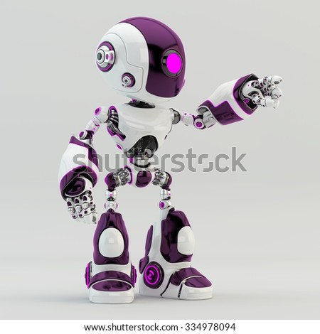 Unique robot character robot with violet accents pointing - stock photo