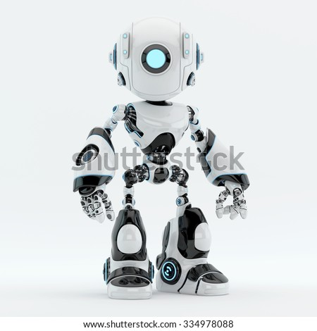 Unique robot with big circle illuminated eye camera - stock photo