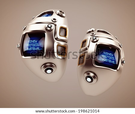 Unique robotic internal organ - steel kidney with sensor /  Kidney Protocol Systems - stock photo