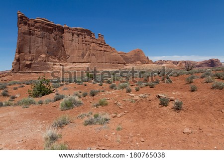 Unique rock formation made of sandstone in Arches National Park in Utah in the summer months - stock photo