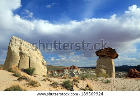 Unique rock formations in the Utah desert, USA. - stock photo