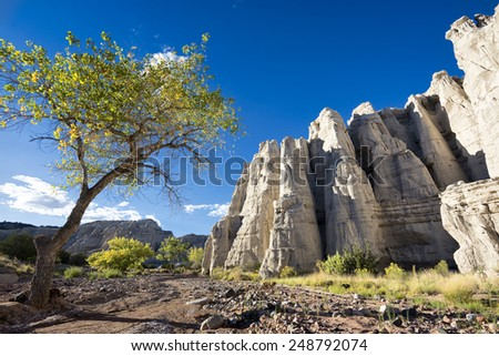 Unique sandstone hills bathed in late afternoon sunlight in a remote area of northern New Mexico, USA - stock photo