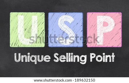 Unique Selling Point with Chalk on Blackboard - stock photo
