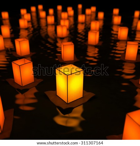 Unique sky lantern on water. Conception of innovation. 3d render