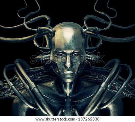 Unique steel cyborg with metal cables isolated on black - stock photo