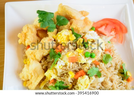 Unique Thai style fish fried rice serves on the dish