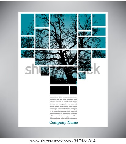 Unique tree page layout for web or print - stock photo