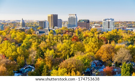 Unique view of Boise Idaho in autumn - stock photo