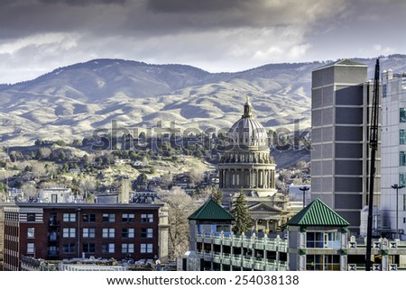 Unique view of the Boise Idaho state capital building - stock photo