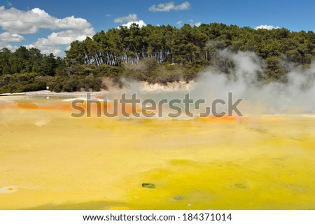 Unique vivid spring Artist's Palette in Wai-O-Tapu geothermal area, Rotorua, New Zealand