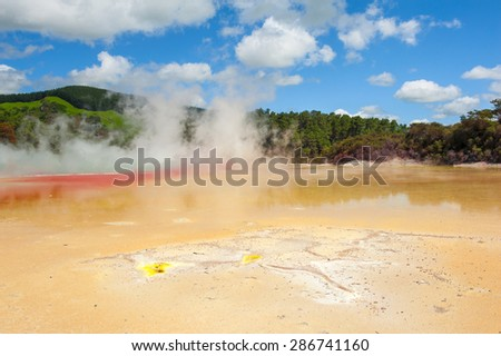 Unique vivid spring Artist's Palette in Wai-O-Tapu geothermal area, Rotorua, New Zealand  - stock photo