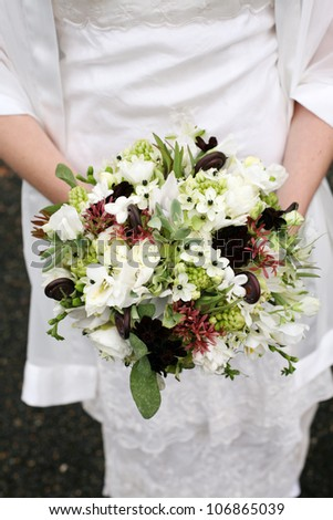Unique Wedding Bouquet with White Flowers