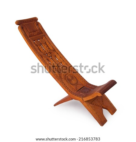 Unique wooden chair from Suriname, isolated on white