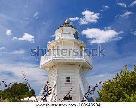 Unique wooden lighthouse near Christchurch New Zealand - stock photo