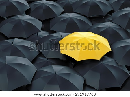 Unique yellow umbrella among many dark ones. Standing out from crowd, individuality and difference concept. - stock photo