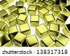 uniqueness and identity concept: golden cube surrounded by a crowd of the same scattered gold cubes - stock photo