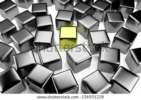 Uniqueness and identity concept: golden cube surrounded by a crowd of the scattered steel cubes - stock photo