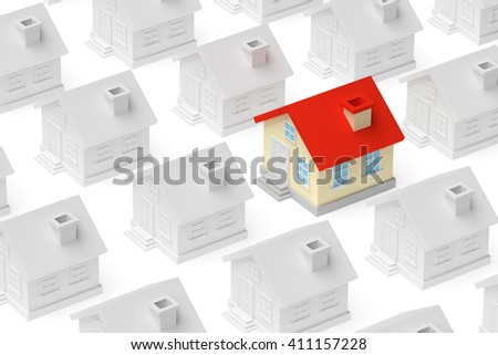 Uniqueness, individuality, real estate business creative concept - funny colored unique house standing out from crowd of gray ordinary houses, 3d illustration - stock photo