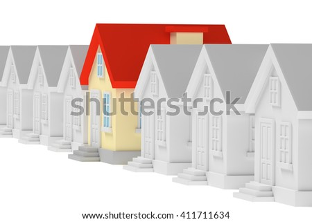 Uniqueness, individuality, real estate business creative concept - funny colorful unique house standing in row of gray ordinary houses, 3d illustration - stock photo