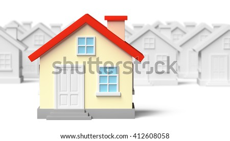 Uniqueness, individuality, real estate business creative concept - funny colorful unique house standing out from crowd of blurred ordinary gray houses, 3d illustration with shallow depth of field - stock photo