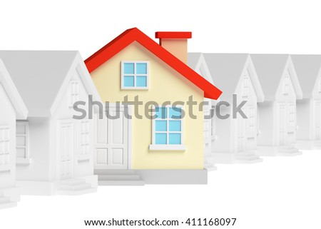 Uniqueness, individuality, real estate business creative concept - funny colorful unique house in row of gray ordinary houses standing out from crowd and look at you, 3d illustration