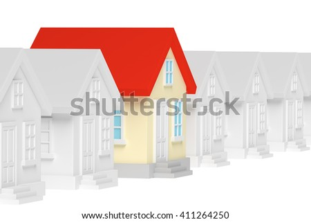 Uniqueness, individuality, real estate business creative concept - funny colorful unique house in row of gray ordinary houses standing out from crowd, 3d illustration - stock photo